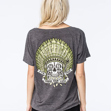 Rebel8 Press Your Luck Womens Tee Heather Grey  In Sizes