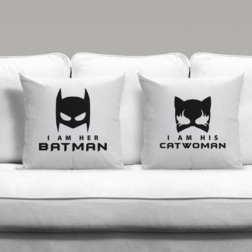 I am his catwoman and I am her batman Couples Square Pillow Covers Pillow Case Gift Couples Case