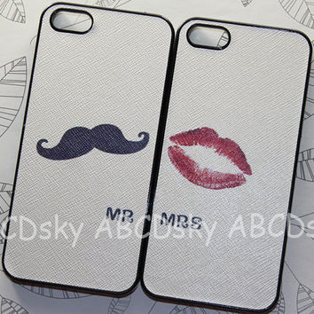 IPhone 5 Case  Cute black Mustache and red mouth SET by ABCDsky