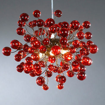 Ceiling lamp, Red lamp, Red bubbles