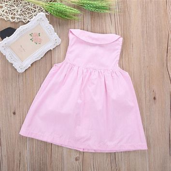 2016 New Arrival Fashion Toddler Baby Girl Leopard Sleeveless Casual Cotton Peter Pan Collar Dress