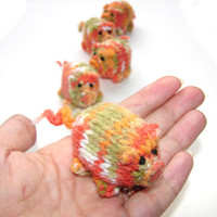 Autumn piggy knitted baby toy, little pigs stuffed toy