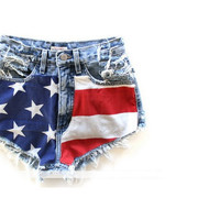 High Waisted American Flag Shorts by MagapeMuguet on Etsy