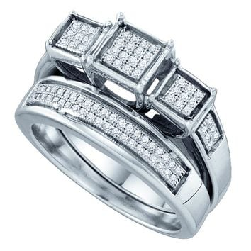 Sterling Silver Womens Diamond Triple Cluster Bridal Wedding Engagement Ring Band Set 1/4 Cttw