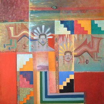 Peruvian Abstract Multicolor Cubist Painting (2006) - Paracas Mantle | NOVICA