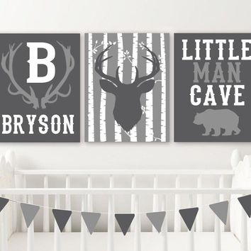 Deer Antler Nursery Decor Baby Boy Wall Little Man Cave Bear Canvas