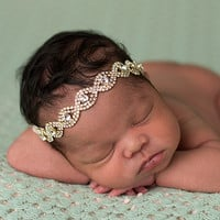 The Tiny Blessings Boutique Gold Rhinestone Isadora Headband | zulily
