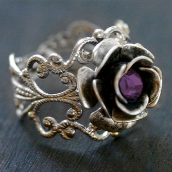Silver Rose Ring with Amethyst Crystal - Neo Victorian Steampunk Adjustable
