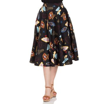 Las Vegas Print Flair Skirt