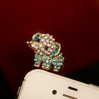 Cute Rhinestone Baby Elephant Plugy for iPhone Blue