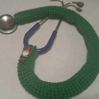 Paddy green GNOME Button Stethoscope Cover, Nurses Stethoscope Covers, lpn, rn, cna, medical fashion accessories, crochet