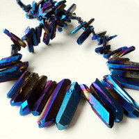Blue Mystic Titanium Quartz Rock Sparkling Crystal Spikes Drilled Briolettes (11) Beads, Boho Tribal Sticks Beads