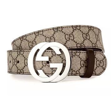 GUCCI Classic Women Men Fashion Smooth Buckle Belt Leather Belt With Box