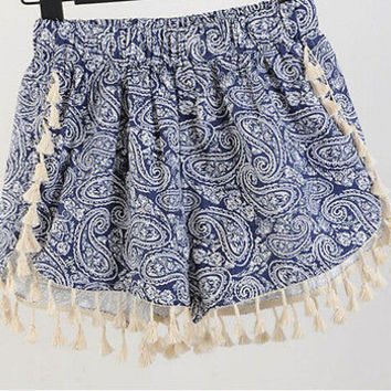 2015 Hot New Boho Women Celeb Floral Summer Casual Tassel High Waist Hot Shorts
