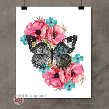 Watercolor flower art wall poster,hand drawn butterfly wall printable,art home wall decor,Instant Download digital poster,wall art printable