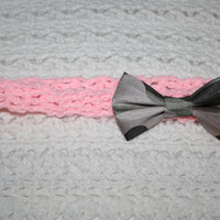 Satin Camo bow and Pink Headband Infant- Toddler- Child- Adult headband- Ready to ship, Photo prop $5