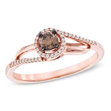 1/4 CT. T.W. Enhanced Champagne and White Diamond Bypass Ring in 10K Rose Gold