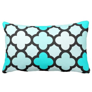 Aqua Moroccan Design Lumbar Pillow