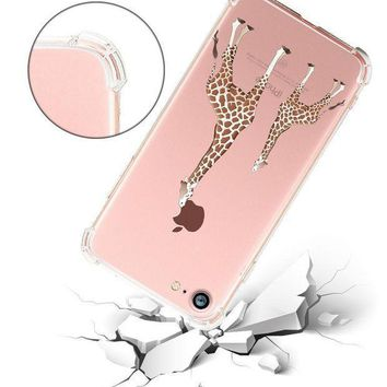 Iphone 8 Case Hepix Soft Flexible Tpu Clear Cute Animals Protective Case Cover For Iphone 7/iphone 8 (2 Giraffe)[4.7 Inch]