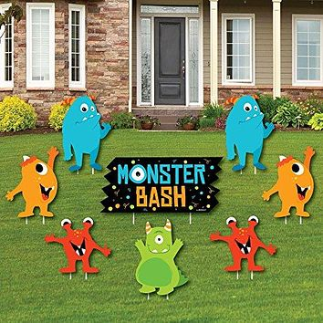 Big Dot of Happiness Monster Bash - Yard Sign & Outdoor Lawn Decorations - Little Monster Birthday Party or Baby Shower Yard Signs - Set of 8
