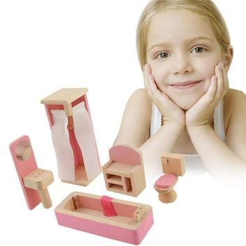 ICIK272 Brand Baby Wooden Doll Bathroom  Furniture-Bathroom Dolls house Miniature For Kids Child Play Toy