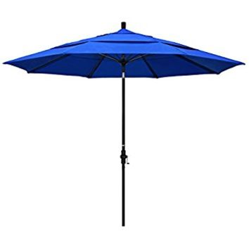 California Umbrella 11' Round Stainless Steel Pole Fiberglass Rib Market Umbrella, Pulley Lift, Silver Pole, Sunbrella Pacific Blue