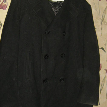 Vintage military issue pea coat 44L Excellent BLACK Wool Wolverine Mills Longview Mfg sz 44L