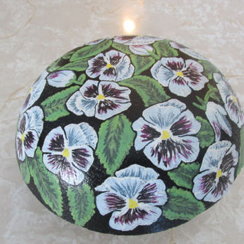 Concrete pansy painted mushroom, hand painted flowers, decorative rock, garden decor, yard art, white, purple
