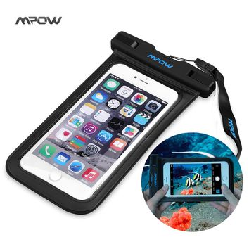 Mpow New Universal Waterproof Case for iPhone 6 Plus Smartphone Dry Bag Hiking Dirtproof Ski Snowproof Pouch for Android Xiaom