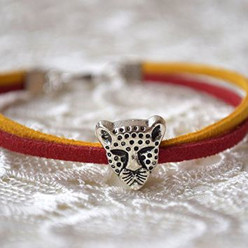 Safari pandora charm bracelet leather Leopard