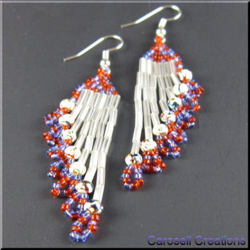 Ripples Delight Native American Style Beadwork Chandelier Dangle Seed Bead Earrings in Red White and Blue