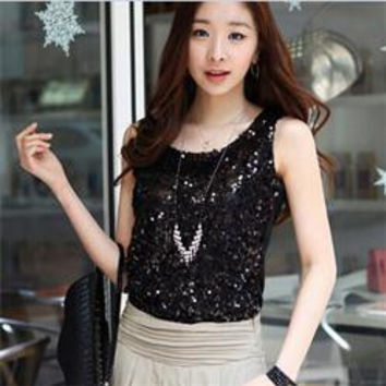 Women Shiny Sequin Vest Bling Top Mesh Tank Sleeveless Blouse Lady T-Shirt Sexy Tee Casual Golden Blusas Femininas SM6