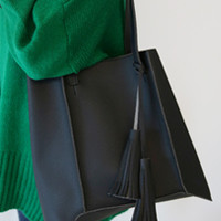 Pebbled Tassel Accent Tote Bag