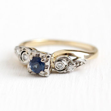 Sapphire Engagement Ring - Vintage 14k Yellow & White Gold Genuine .25 Carat Blue Gemstone Diamond - Size 4 3/4 Fine Alternative Jewelry