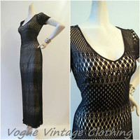 Vintage Algo Black Illusion Lace Crochet Maxi Dress M