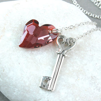 Red Heart Necklace Sterling Silver Love Pendant Swarovski Jew 04d49b26a7