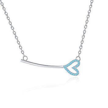 Key With Heart Necklace - Horizontal Key Shaped Necklaces For Women