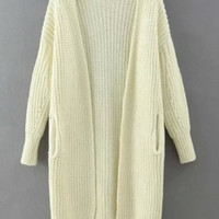 White Long Knitted Cardigan