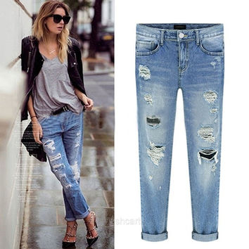 New Fashion Women Casual Slim Pencil Pants Skinny Ripped Jeans Denim Trousers W_C = 1930331908