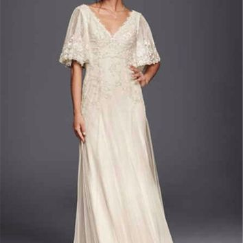 A-line V-neck Applique Lace Wedding Dress with Flutter Short Sleeves MS251133 Floor Length Bell Sleeves Bridal Dresses