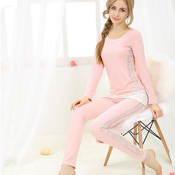 Sexy Pajama Sets Modal women's lounge sleepwear plus size lace long sleeve long pants pullover at home service set