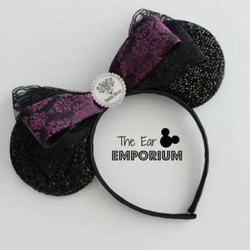 The Haunted Mansion Minnie/Mickey Mouse Ears Headband ~ Black Lace Foolish Mortal Rhinestone Bottlecap