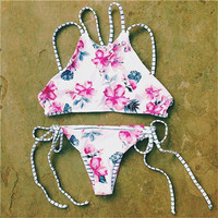 Flower Printing Striped Swimwear Bikini Set