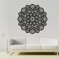 Wall Decal Vinyl  Mural Sticker Art Decor Bedroom Yoga Kitchen Ceiling Mandala Menhdi Flower Pattern Ornament Om Indian Hindu Buddha (z2851)