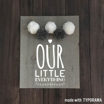 Baby room sign nursery decor love you forever all because two people fell in love nursery sign baby shower decor yarn pom poms baby decor