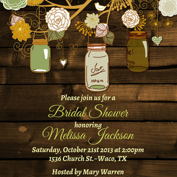 Sale-Vintage Mason Jar Invitations- Bridal Shower Invitation- Mason Jars-Rustic-Wood-Wedding-Shower--Rehearsal Dinner-Free  Recipe Card