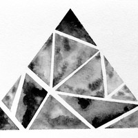 Original Geometric Triangle Watercolor Painting