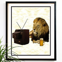 50 OFF TODAY Valentines Day Lion watching by uNaturalInspiration