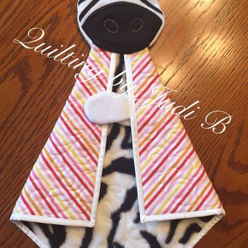 Maddy's Lovie - Baby Zebra - Security Blanket - Choice of Colors!