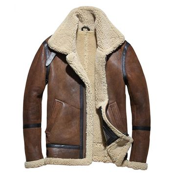 Genuine MAXMACCONE Brown men B3 bomber plus size thick Russian military shearling Jacket coat